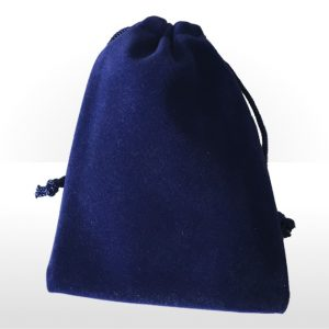 Large Blue Double Flocked Pouch