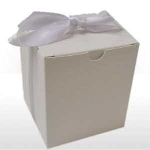 Medium White Gift Box with Ribbon