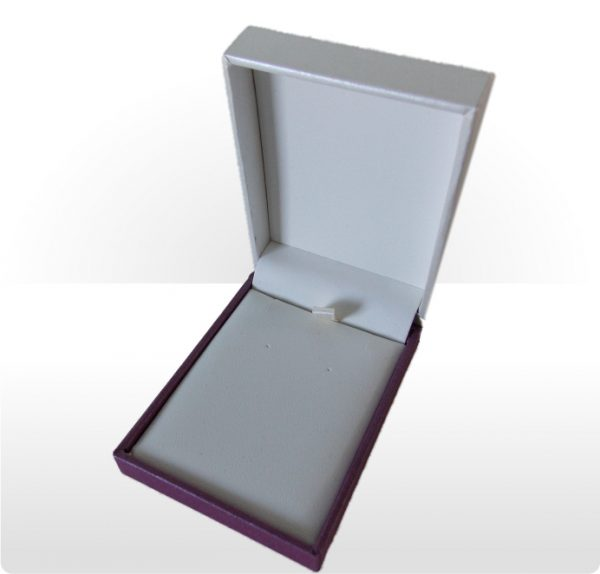 Cream and Purple Small Pendant and Earring Box