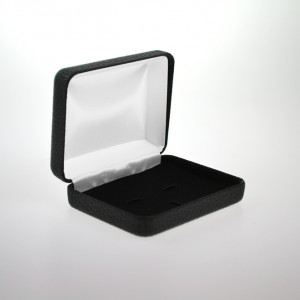 Black Leatherette Hinged Cufflink and Tie Bar Box