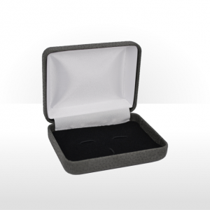 Dark Grey Hinged Cufflink and Tie Bar Box