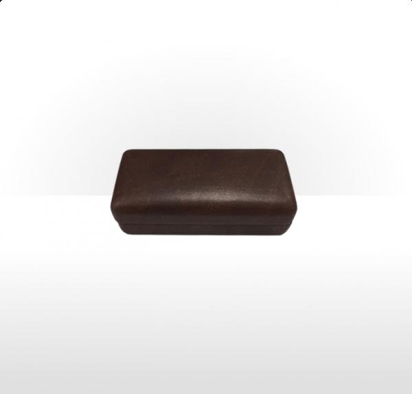 Large Brown Hinged Cufflink Box