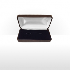 Large Brown Hinged Cufflink Box
