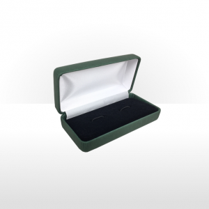 Large Green Hinged Cufflink Box