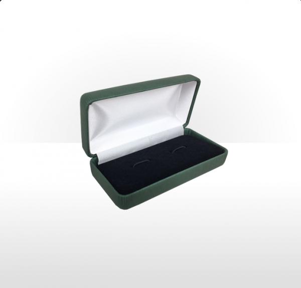 Large Green Hinged Cufflink Box