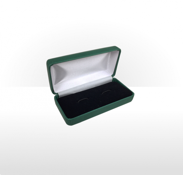 Large Forest Green Hinged Cufflink Box