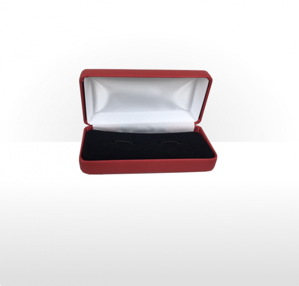 Large Red Hinged Cufflink Box
