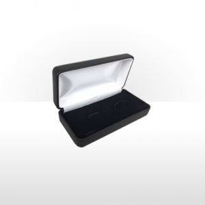 Large Black Hinged Cufflink Box