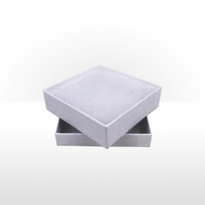 White Paper Covered Cotton Filled Gift Box
