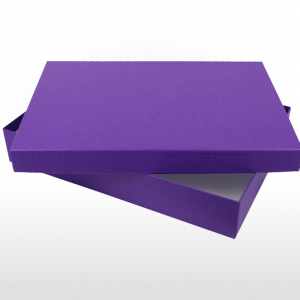 Amethyst coloured fine linen paper covered cardboard box