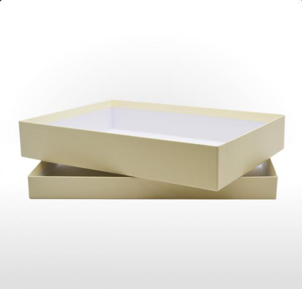 Buttermilk coloured fine linen paper covered cardboard box
