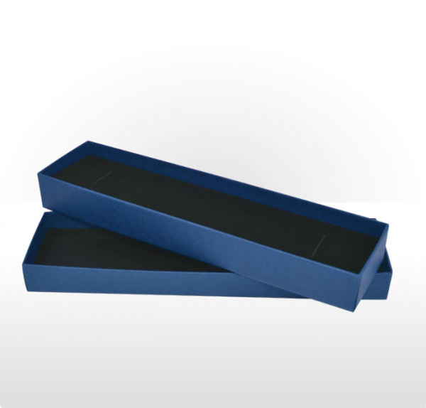 Sapphire Blue Linen Paper Covered Pen or Bracelet Box